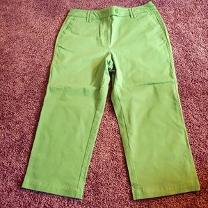 Talbots petites stretch cropped green pants